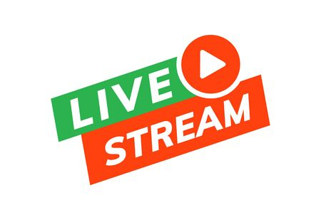 Live stream icon vector logo. Video broadcast live stream tv news online template design