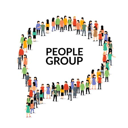 Speech bubble people group, vector chat crowd social communication illustration.