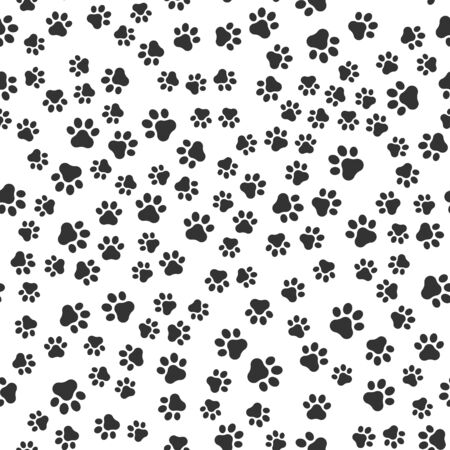 Seamless pet paw pattern background. Dog or cat paw wallpaper illustration footprint