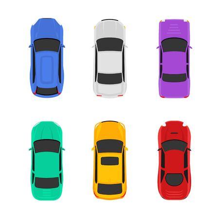 Illustration d'icône de vue de dessus de voiture de vecteur. Icône de voiture isolé plat véhicule Vecteurs