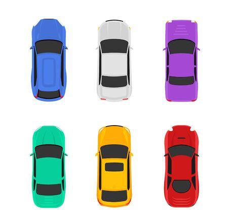 Vector car top view icon illustration. Vehicle flat isolated car icon Vector Illustration