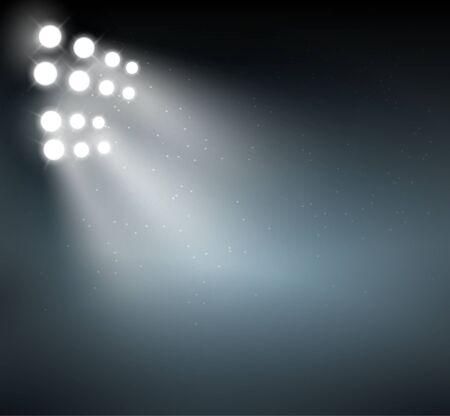 Spotlight-Hintergrund zeigen Hintergrund. Hellblaue Vektorglühen abstrakte Scheinwerferszene