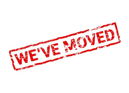 We have moved red sign stamp. Office home move label isolated notice grunge rubber seal