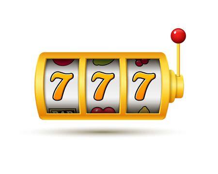 Icône de jeu de vecteur chanceux de machine à sous de jackpot de casino. Machine à sous 777.