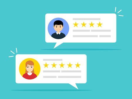Gebruikersrecensies online. Klant feedback beoordeling ervaring rating concept. Klantenservicebericht van de gebruiker.