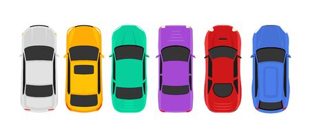 Vector car top view icon illustration. Vehicle flat isolated car icon Illustration