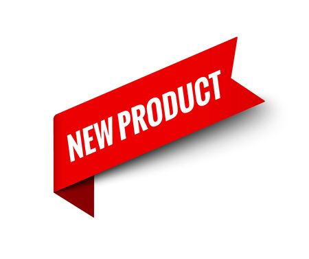 New product badge label tag. Red ribbon symbol new product sign design banner