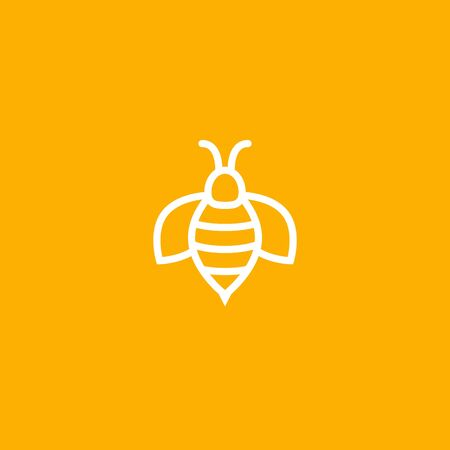 Bee icon vector honey logo illustration. Simple bee icon outline art bumble