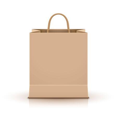Pusta papierowa torba na zakupy na białym tle. Opakowanie kartonowe na zakupy detaliczne na reklamę. Ilustracje wektorowe