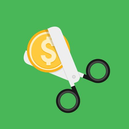 Cost cut vector icon. Price cheaper reduce flat icon, reduction rate discount. Illustration