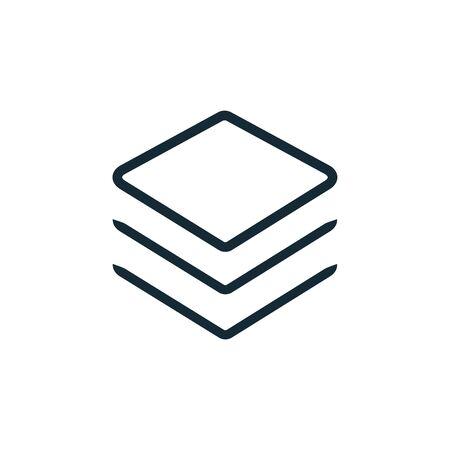 Logo vectoriel d'icône de couche. Empilez la technologie de ligne plate de symbole de papier. Icône d'éléments de calques Logo