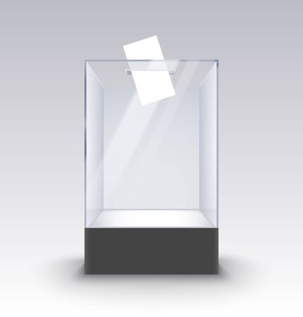 Transparent glass box ballot vote election. Empty container paper on standm voting box poll
