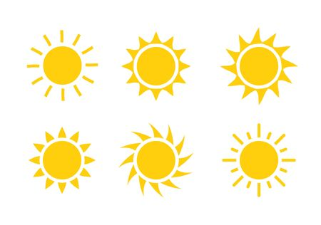 Sun icon symbol illustration, Sunlight design weather. Flat sunshine isolated set of sun logo Иллюстрация