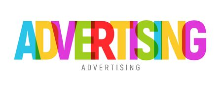 Advertising word text concept colorful vector media commercial marketing. Vektoros illusztráció