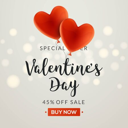 Valentines day sale vector banner background with hearts. Valentine discount holiday poster template for promo sale.