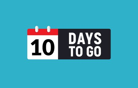 10 days to go last countdown icon. Ten day go sale price offer promo deal timer, 10 day only Çizim