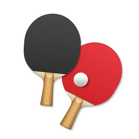 Rackets for table tennis. tennis game equipment ball vector background poster