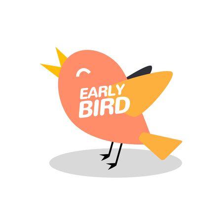 Early bird discount vector special offer sale icon. Early bird icon cartoon promo sign banner Vektoros illusztráció