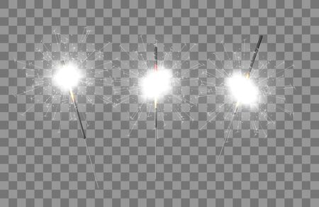 Vector light sparkler decoration. Holiday sparkler firework background isolated bengal bright light