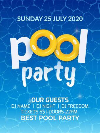 Progettazione di volantini per banner di invito a una festa estiva in piscina. Manifesto del modello di festa in piscina con acqua.