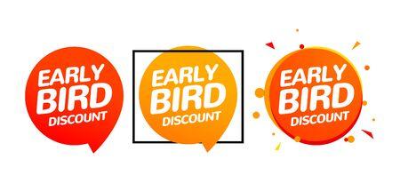 Conjunto de iconos de venta de oferta especial de vector de descuento por reserva anticipada. Banner de signo de promoción de dibujos animados de icono de pájaro temprano.