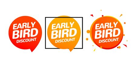 Early bird discount vector special offer sale icon set. Early bird icon cartoon promo sign banner. Illustration