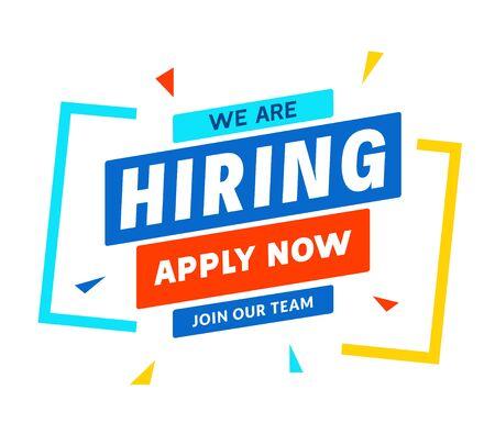 We are Hiring career employee message background. Employment hiring job recruitment concept banner. Illustration