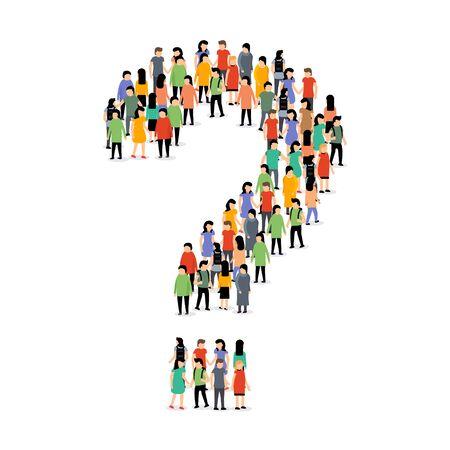 Menschengruppe Frageform Menge. Leute fragen Silhouette Person Vektorgrafik