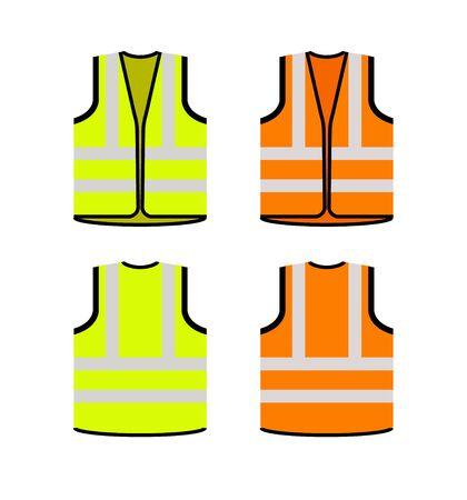 Sicherheitssymbol für die Sicherheit der Jacke. Vector Schwimmweste gelbe Sichtbarkeit fluoreszierende Arbeitsjacke.