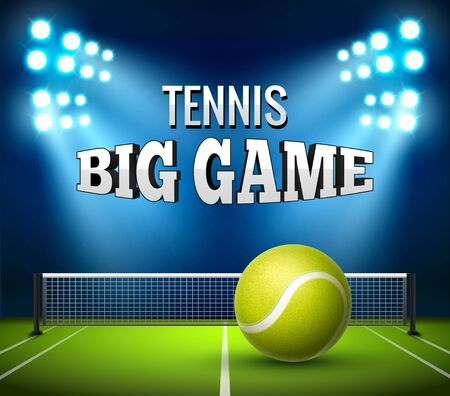 Fondo de torneo de juego de campeonato de tenis. Diseño de la liga del cartel del volante de la competencia de tenis. Ilustración de vector