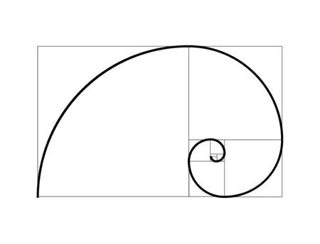 Section en spirale de proportion de vecteur de nombre d'or. Géométrie du nombre d'or de Fibonacci