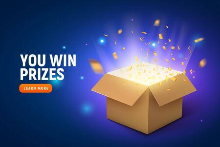 Vektor-Preis Geschenkbox Konfetti Explosion Hintergrund. Belohnung für den Gewinner der offenen Box. Vektorgrafik