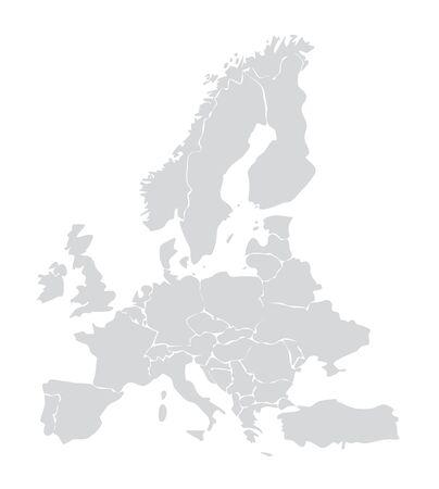 European map vector illustration. Germany, Italy, france, Spain, european union