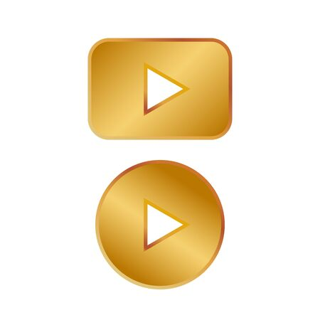 Play gold button vector icon. Round arrow gold play button.