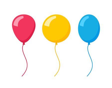 Vector flat balloon birthday icon illustration party design. Balloon cartoon bunch background Vector Illustration