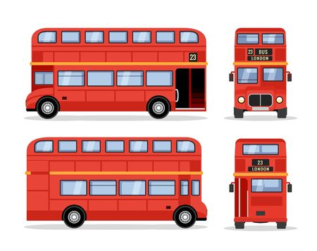 London double decker red bus cartoon illustration, English UK british tour front side isolated flat bus icon. Stock Illustratie