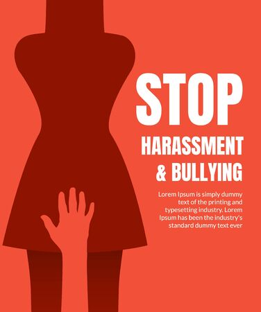 Sexual harassment violence stop poster. Sexual harassment assault woman concept Vectores