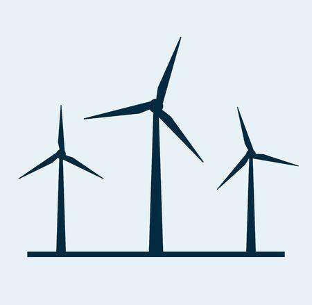 Wind vector turbine icon. Wind power energy turbine silhouette illustration tower windmill.