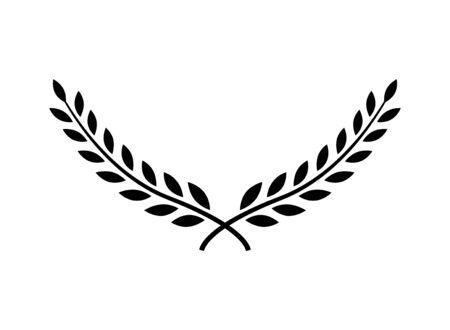 Lorbeerkranz Vektor Award Branch Sieg Symbol. Gewinner Lorbeerkranz Vintage Blatt Emblem Vektorgrafik