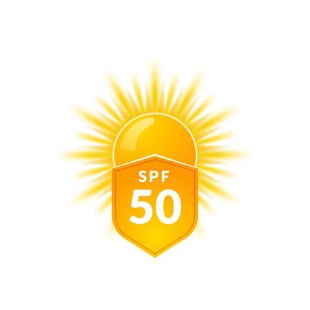 UV radiation sun block icon. Solar ultraviolet uv radiation 50spf