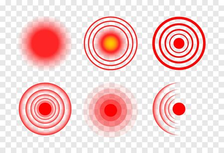Red target circle medical vector ripple. Sore hurt spot place. Wave therapy symbol pain ache red target.