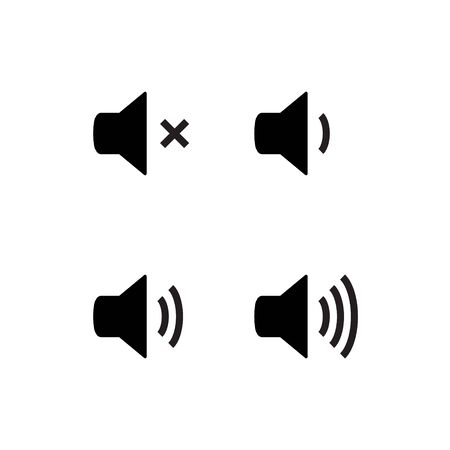 Sound vector icon speaker volume. Audio volume symbol, noise loud button level. Ilustrace