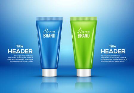 Cosmetic tube cream bottle package product white mockup isolated banner design Illustration