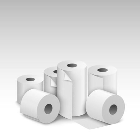Toilet paper roll tissue. Toilet towel icon isolated realistic illustration. Kitchen wc white tape paper