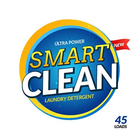 Clean laundry detergent design wash powder. Laundry cleaner soap concept product template