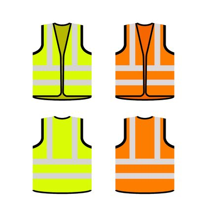 Safety jacket security icon. Vector life vest yellow visibility fluorescent work jacket Vector Illustration