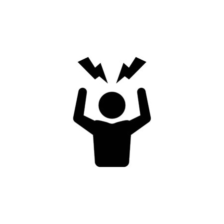 Angry person icon frustrated anger man stress headache symbol
