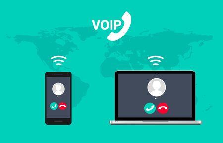 Technologie de téléphonie vocale du système d'appel VoIP. Ordinateur portable de nuage de données de téléphonie vidéo Internet voix sur ip et téléphone portable.