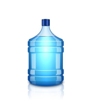 Vector water bottle. Large plastic big blue transparent bottle for clean water, isolated