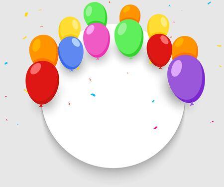 Balloon banner happy birthday background. Celebrate party surprise balloon banner carnival anniversary. Ilustração